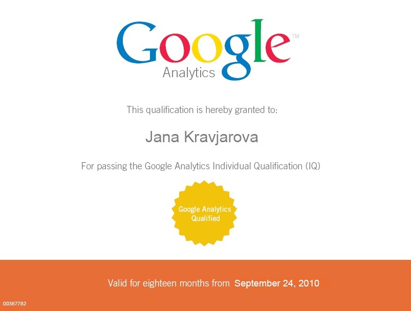 Jana Kravjarova is Google Analytics Qualified